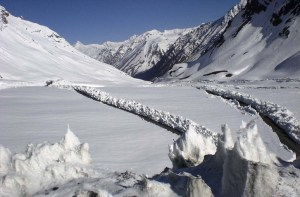 Manali-Leh highway at Baralacha-la after clearing the snow