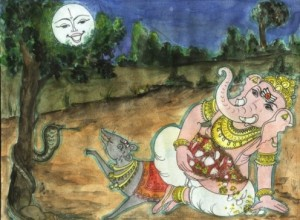 ganesh and the moon